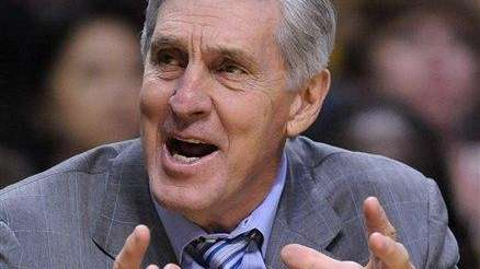 Utah Jazz' Head Coach Jerry Sloan reacts in