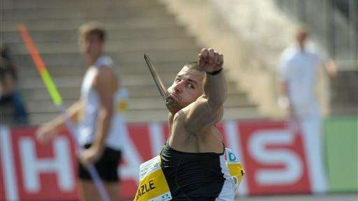 Mike Hazle of the U.S. during the javelin