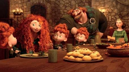 Merida talks to her siblings, triplets Harris, Hubert