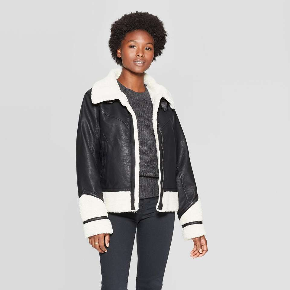 This stylish moto jacket will keep you standing