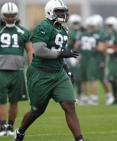 New York Jets' Kenrick Ellis works out during