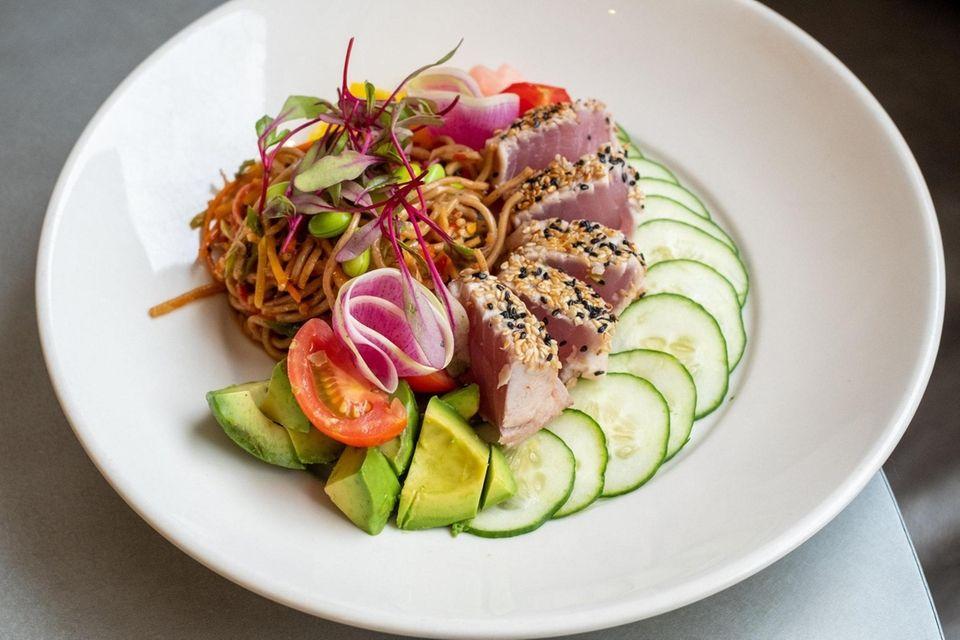 Sesame crusted Ahi Tuna with soba noodle salad,