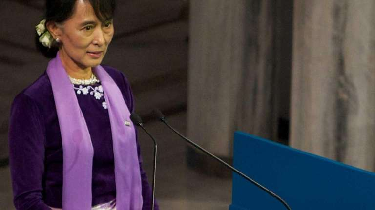 Nobel Laureate Aung San Suu Kyi delivers a