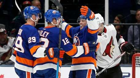 Josh Bailey of the Islanders celebrates his second-period