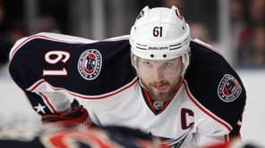 Then-Blue Jackets forward Rick Nash (61) watches a