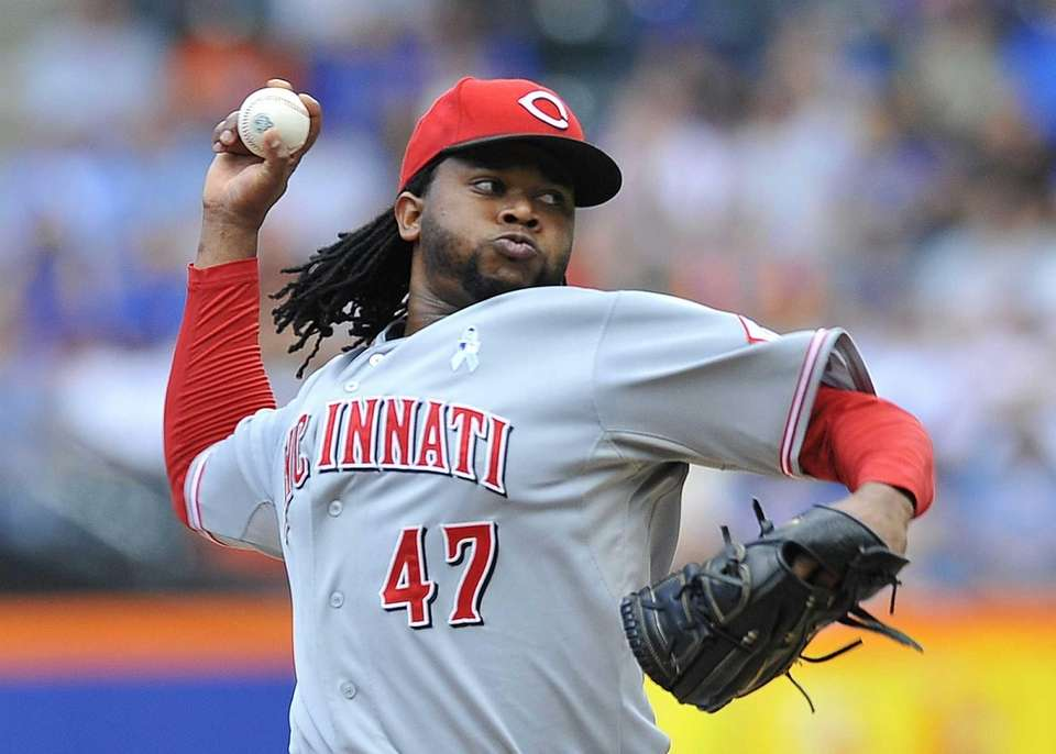 Reds' starting pitcher Johnny Cueto against the Mets.