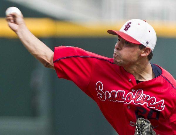 Stony Brook starting pitcher Brandon McNitt delivers against