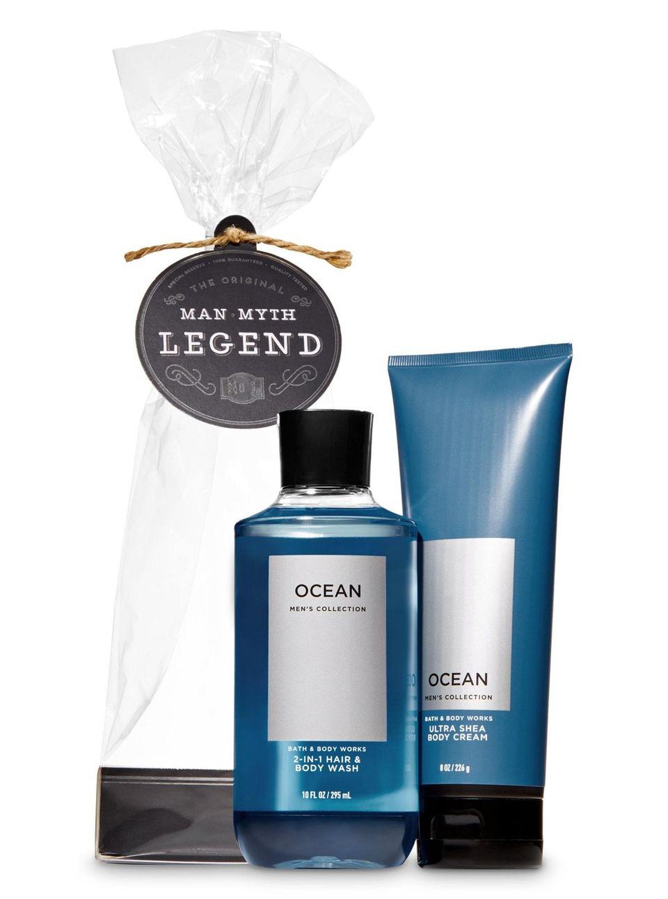 The Man, Myth, Legend gift set includes shower