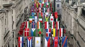 The flags of 200 nations are displayed on