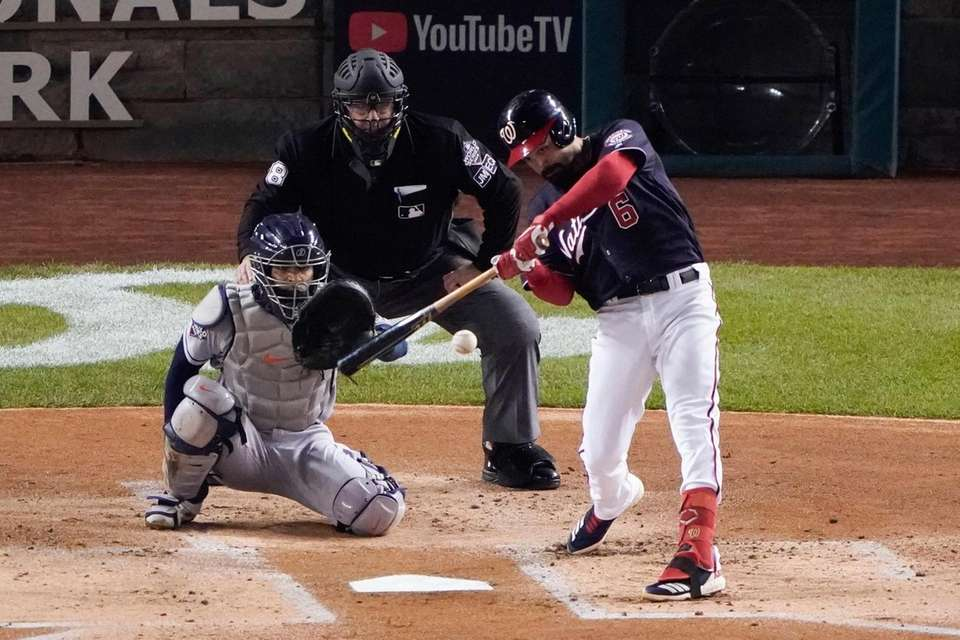 Washington Nationals' Anthony Rendon hits a double during