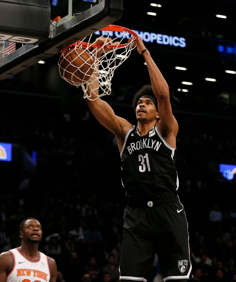Jarrett Allen #31 of the Brooklyn Nets dunks