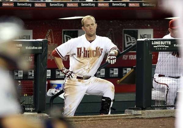 Aaron Hill #2 of the Arizona Diamondbacks watches
