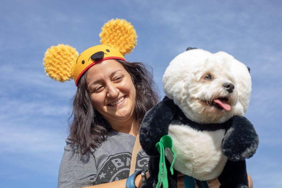 Guiseppina Amorello with her dog Gino on Oct.