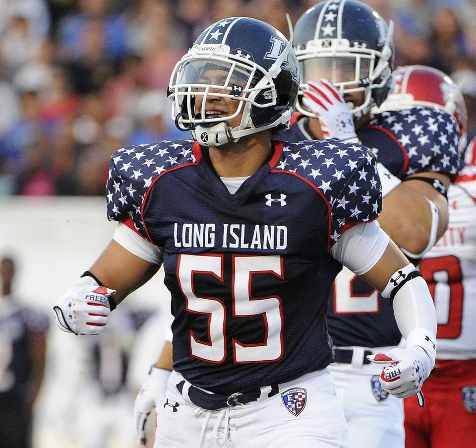 Long Island linebacker Chris Hercules reacts after making