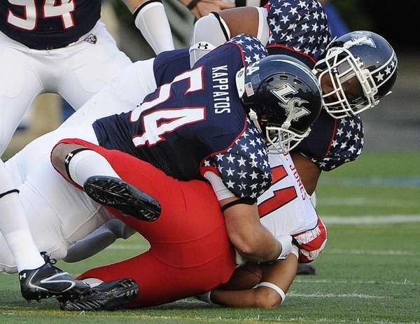 Long Island linebacker Evan Kappatos (54) sacks New