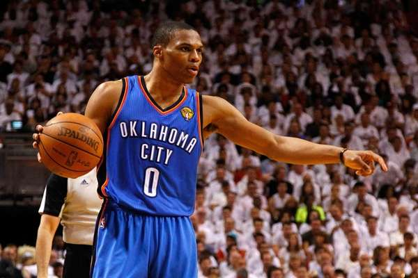 Russell Westbrook #0 of the Oklahoma City Thunder
