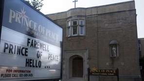 The farewell sign outside the Prince of Peace