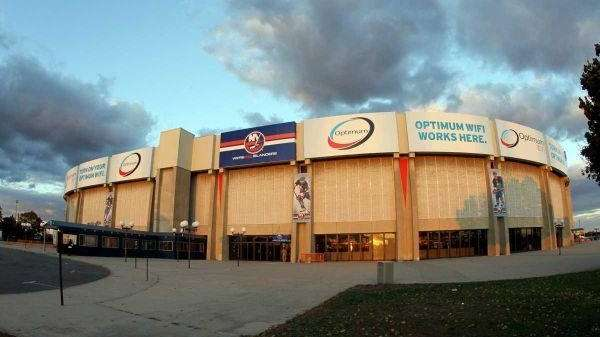 An outside view of the Nassau Coliseum. (Oct.