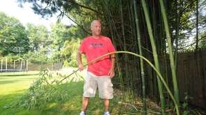 David Spellman bends a bamboo plant in his