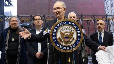 Sen. Chuck Schumer (D-N.Y.) speaks at a news