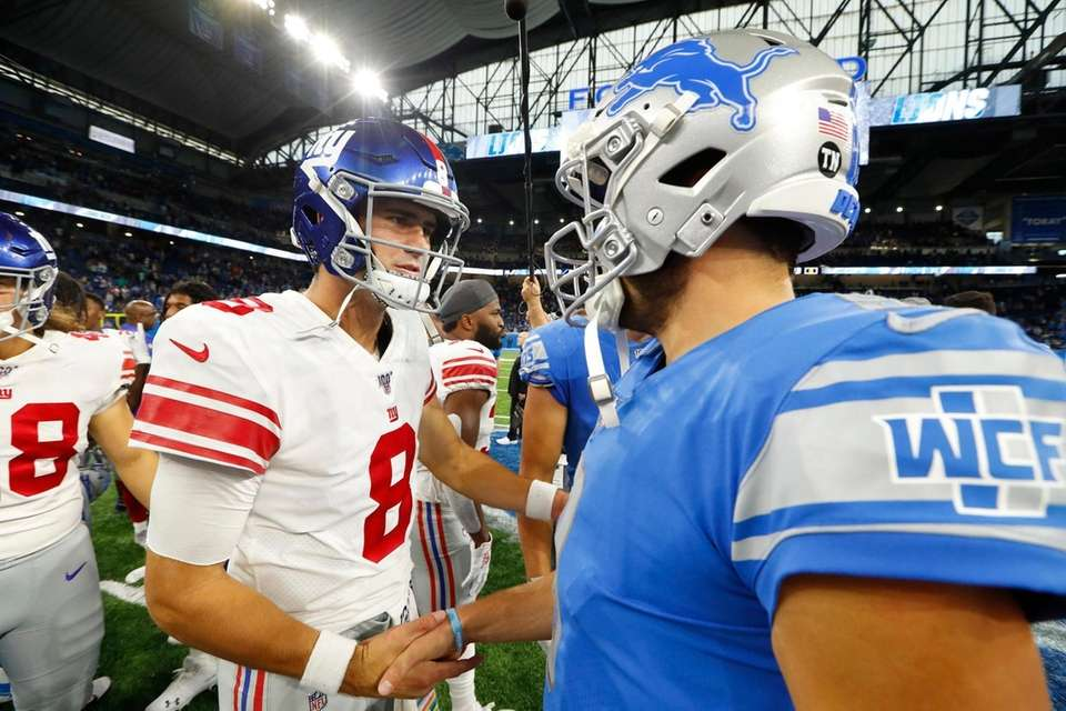 Giants quarterback Daniel Jones and Detroit Lions quarterback