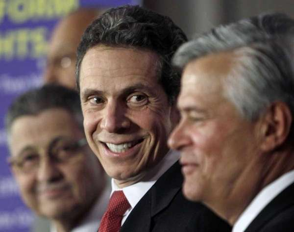 Gov. Andrew Cuomo with Senate Majority Leader Dean