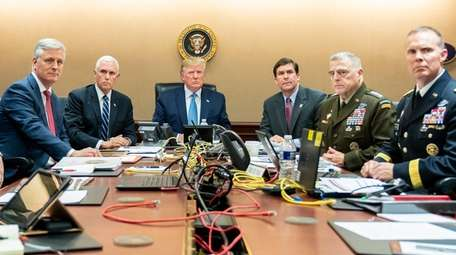 National Security Adviser Robert O'Brien, left, Vice President