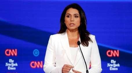 Democratic presidential candidate Rep. Tulsi Gabbard, D-Hawaii, speaks