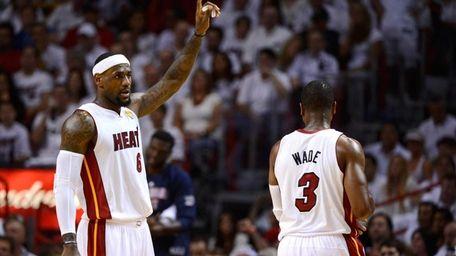 LeBron James #6 of the Miami Heat gestures