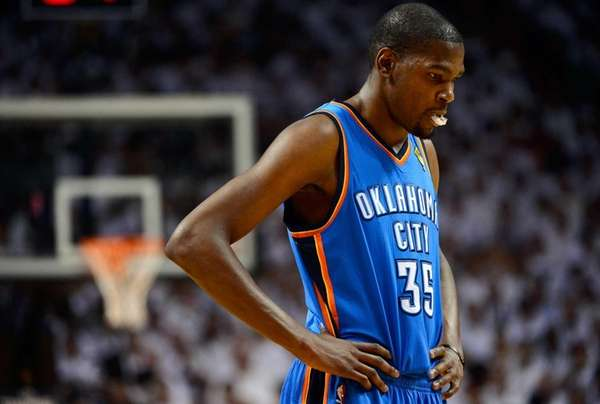 Kevin Durant of the Oklahoma City Thunder stands