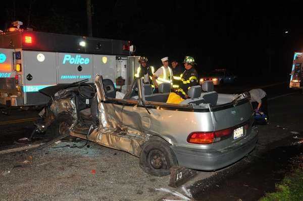 A head-on collision on Round Swamp Road in