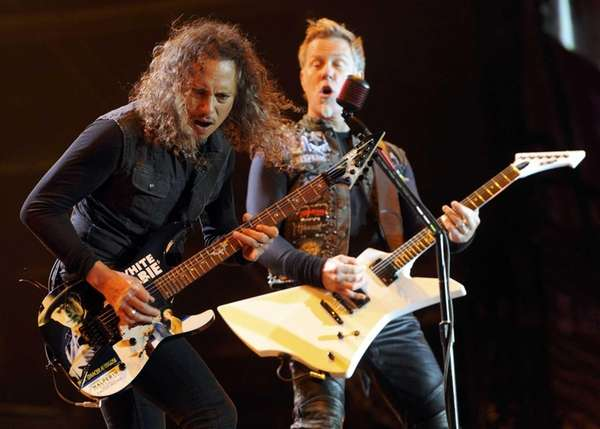 Metallica's Kirk Hammett, left, and James Hetfield perform