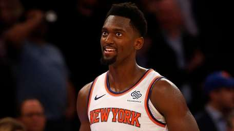 Bobby Portis of the Knicks reacts during the
