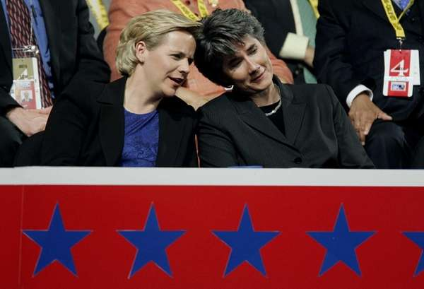 In this file photo Mary Cheney, left, daughter