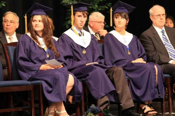 From left, Valedictorian Chelsea Levy, Salutatorian Daniel Zirkel