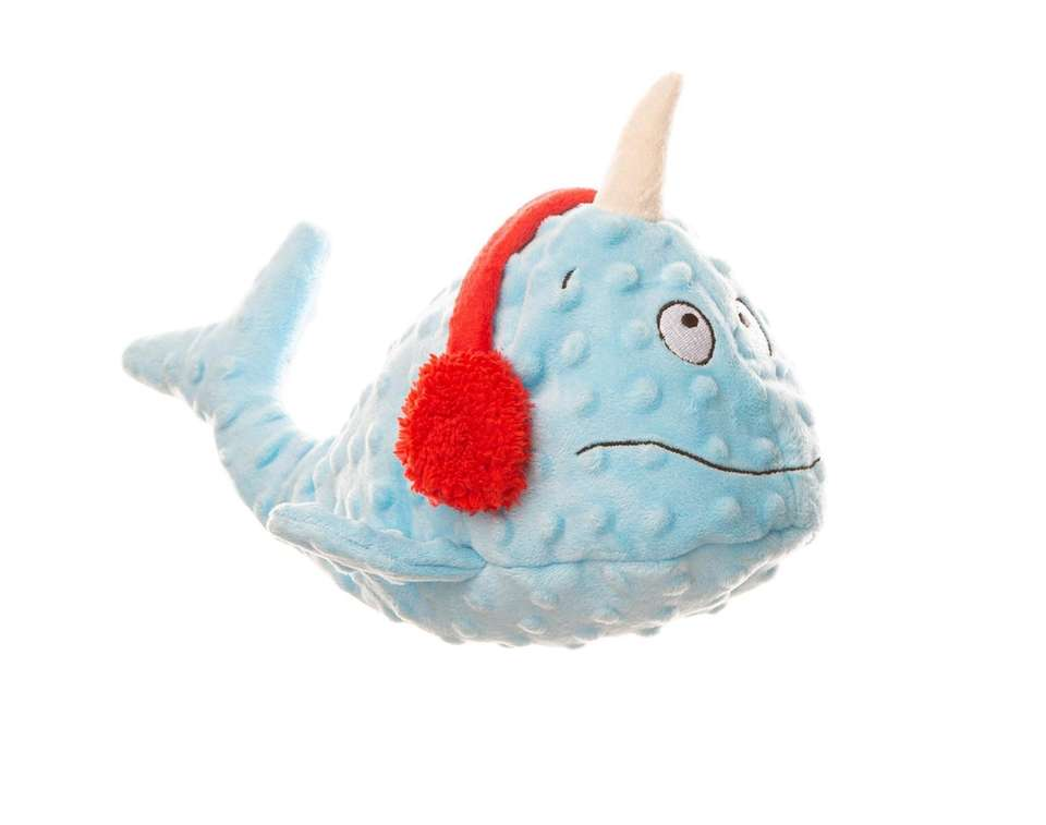 Brighten up Fido's holiday with a stuffed narwhal