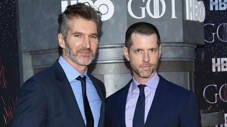 David Benioff, left, and D.B. Weiss attend HBO's