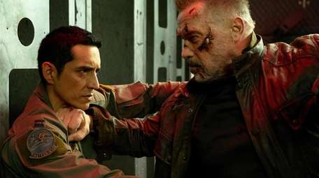 Arnold Schwarzenegger (right) and Gabriel Luna (left) star