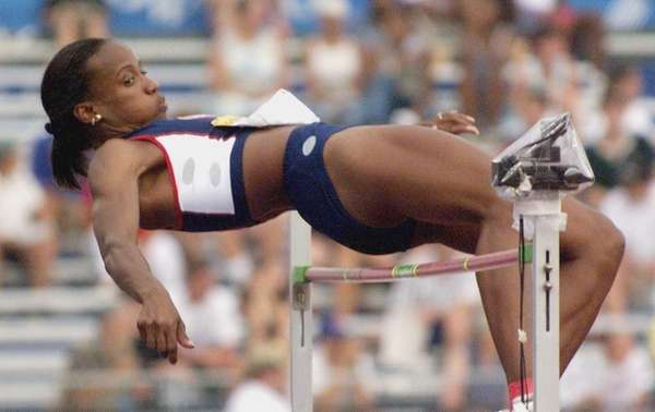 Jackie Joyner-Kersee of the US clears the bar