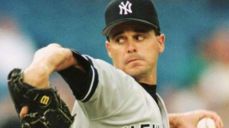 Yankees starting pitcher Jimmy Key pitches against the