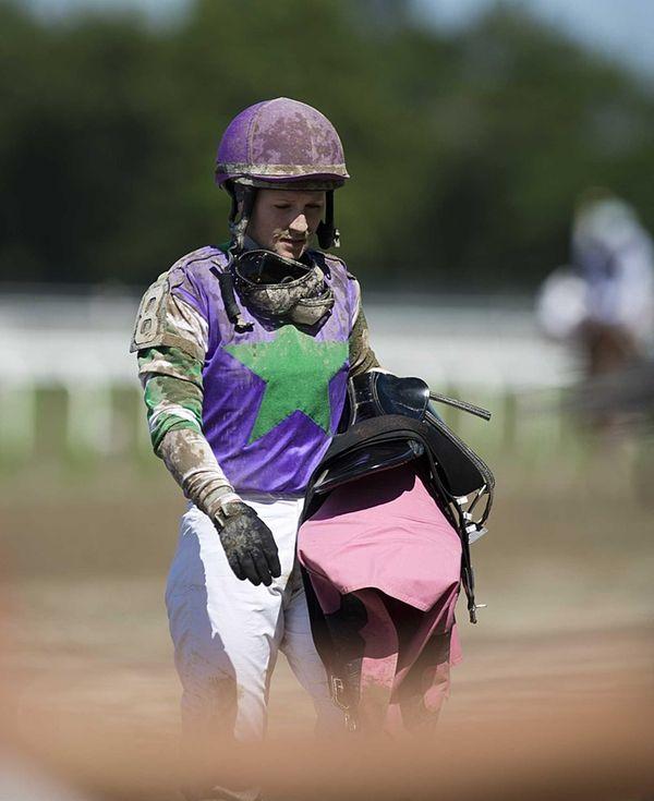 Jockey Rosie Napravnik leaving the track after the