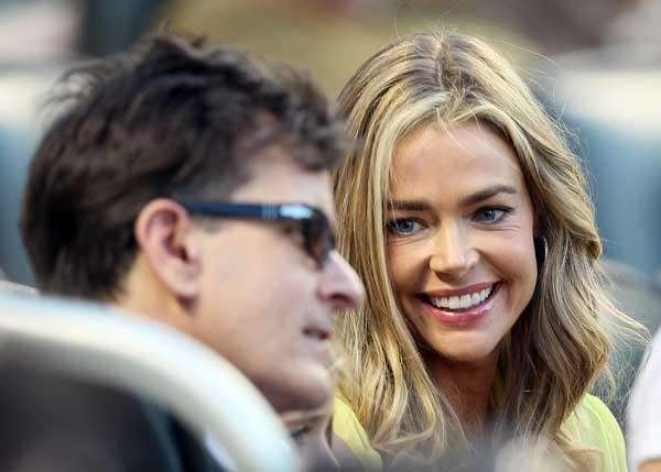 Denise Richards, Charlie Sheen watch the Yankees take