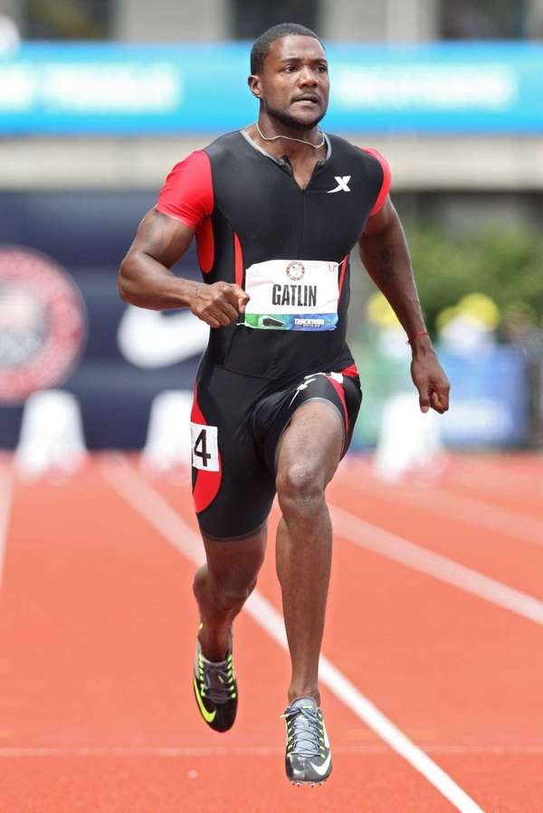 Justin Gatlin competes in the men's 100 meter