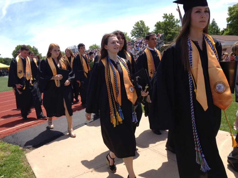 Commack High School Class of 2012 graduates exit