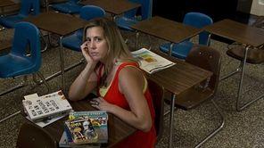 JFK Middle School teacher Melissa McMullen sitting in