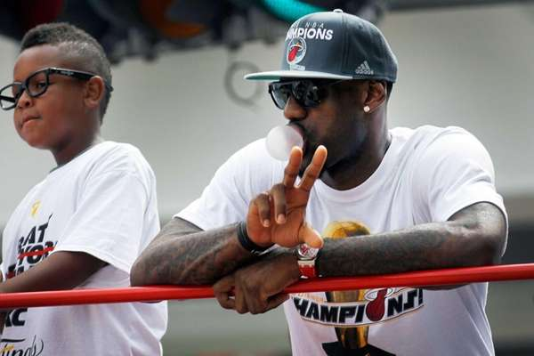 LeBron James of the Miami Heat rides in