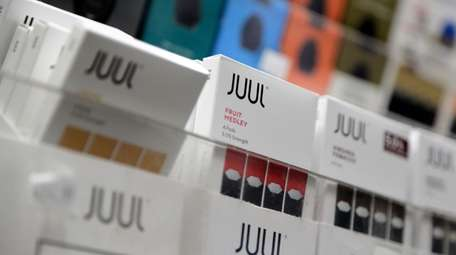 Juul products are displayed at a smoke shop