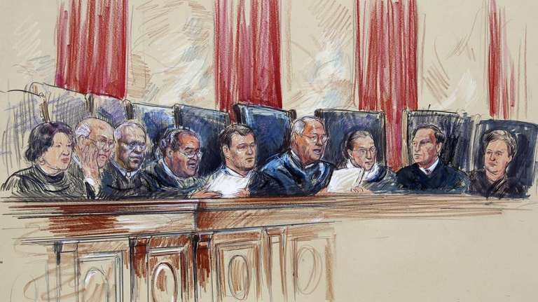 This artist rendering shows Supreme Court Justices from