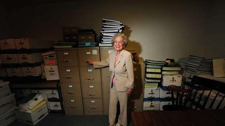 Helen Salerno Dejana, 89, at the office where