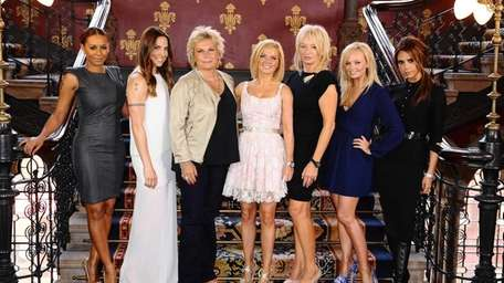 Scriptwriter Jennifer Saunders, third from left, and producer